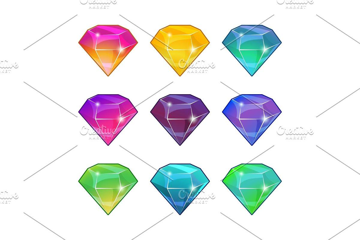 Brilliant diamonds in different colors. Vector cartoon set for game design