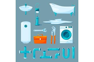 Toilet and bathroom furniture, pipe and different equipment for plumber work