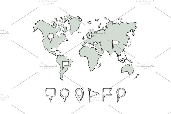 Doodle Illustrations Of World Map With Hand Drawn Pins Vector Pictures Isolate