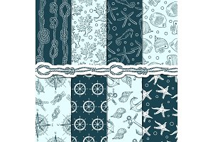 Different seamless patterns set of marine and nautical elements. Vector stripes, anchors and ropes