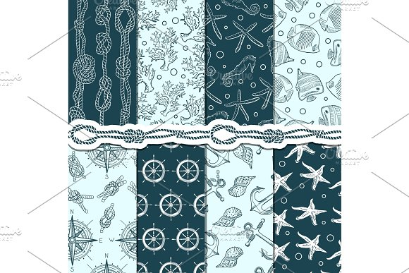 Different Seamless Patterns Set Of Marine And Nautical Elements Vector Stripes Anchors And Ropes