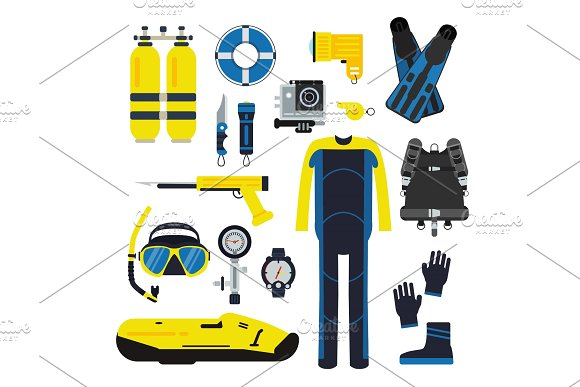 Diver And Set Elements For Underwater Sport Illustrations Of Diving In Flat Style