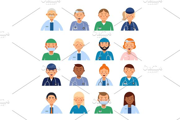 Male and female medical characters in different professional clothes. Peoples in hospital avatar set in Graphics
