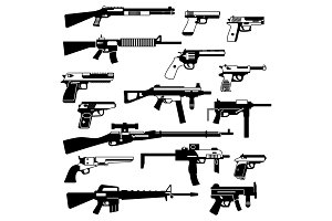 Military set of automatic guns, pistols and other weapons. Monochrome illustrations isolate
