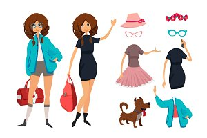 Character of hipster young girl with glasses. Casual style clothes. Vector illustration of urban female