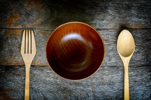 Wooden bowl spoon  and fork