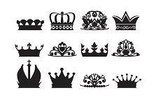 Silhouette of diadems and crowns. Vector monochrome pictures isolate