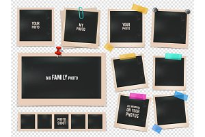 Set of retro photo frames. Vector pictures isolated on transparent background