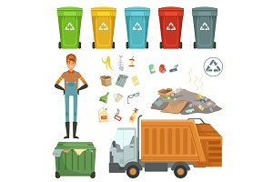 Plastic containers for different trashes. Vector illustration of garbage harvester and dustman