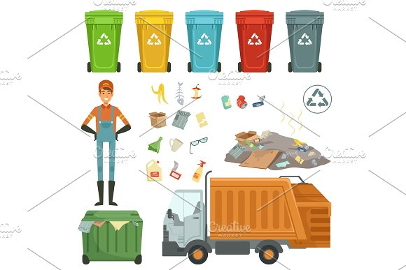 Plastic Containers For Different Trashes Vector Illustration Of Garbage Harvester And Dustman