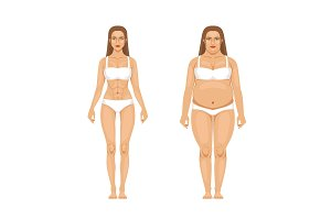 Woman weight loss with sport and diet. Vector illustrations in cartoon style