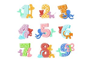 Inflatable animals with birthday numbers. Vector illustrations. Design template of invitation cards for kids party
