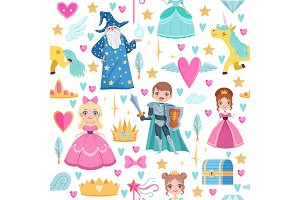 Seamless pattern with different magic elements. Fairytale illustrations in cartoon style