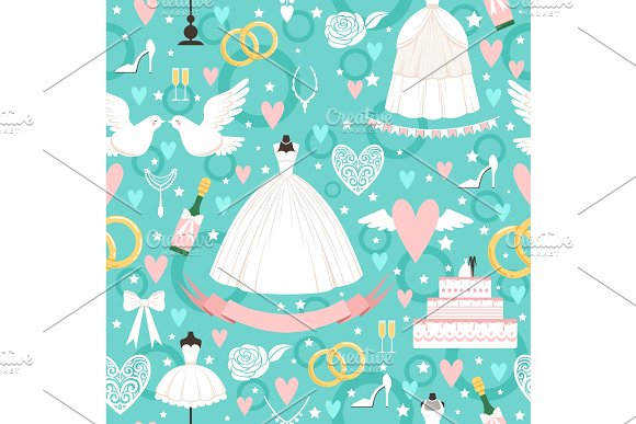 Seamless Pattern With Different Wedding Symbols In Cartoon Style