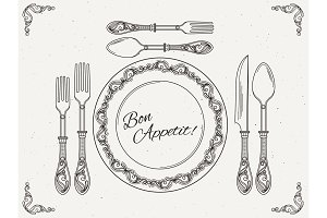 Banquet tableware. Vintage dish with spoon, fork and knife. Symbols of eating on retro vector poster