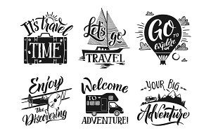Monochrome travel labels set with hand writing words and letters. Adventure vector symbols