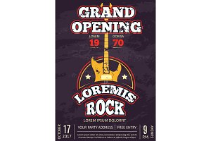 Retro opening rock music club, shop, sound record studio vintage poster with shabby rock music guitar logo