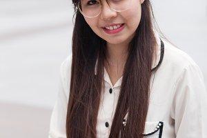 Happy asian businesswoman.