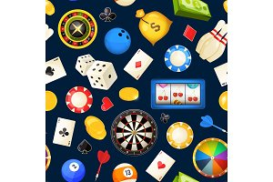 Seamless pattern with gambling and other casino entertainments. Poker, dice vector illustrations