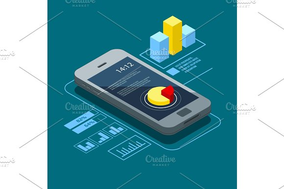 User interface on smartphone. Infographic elements in isometric style