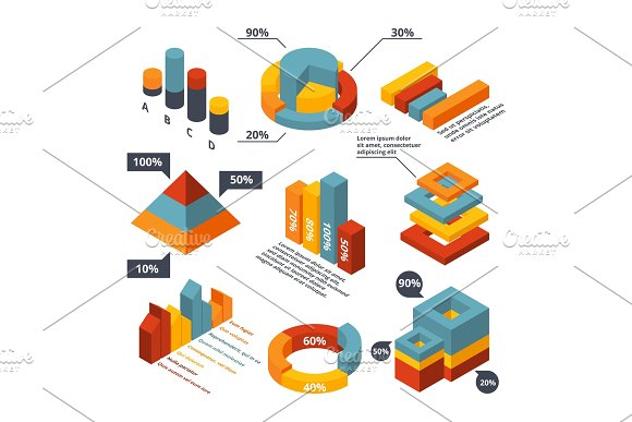 Different Isometric Elements For Business Infographic Graphic Diagrams 3D Charts