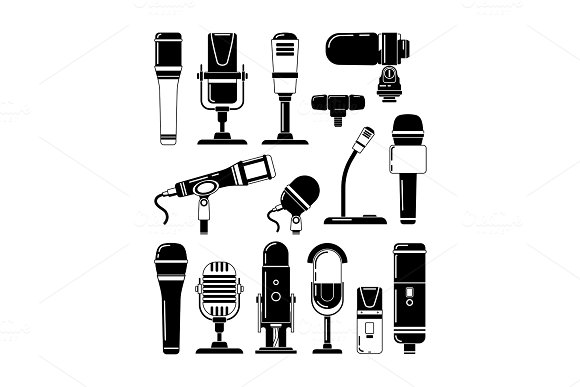 Vector monochrome illustrations of microphones and other professional tools for reporters