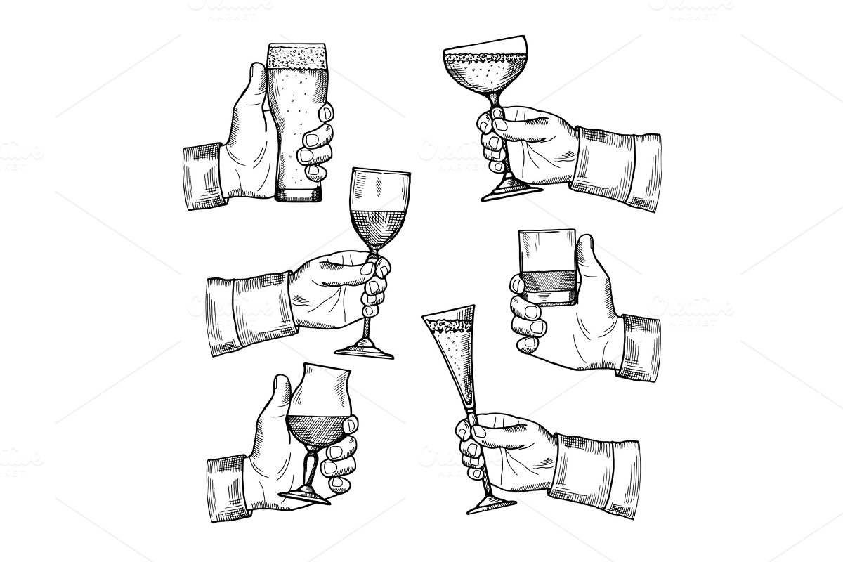 Illustrations of different alcoholic drinking glasses in hands. Vector hand drawn pictures isolate