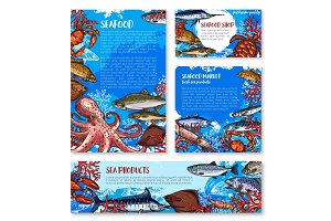 Seafood shop and fish market design templates