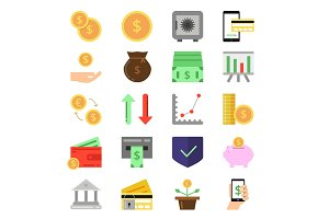 Business and finance icons set. B2c and b2b symbols. Pictures of money and coins