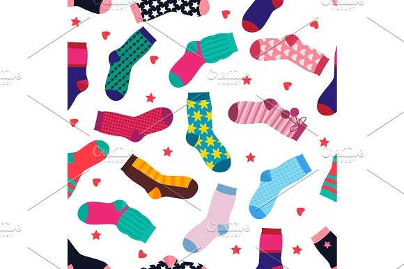 Vector seamless pattern with different funny socks