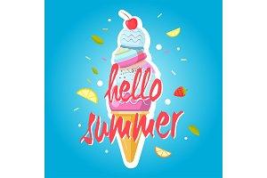 Hello summer ice cream cone, colorful background