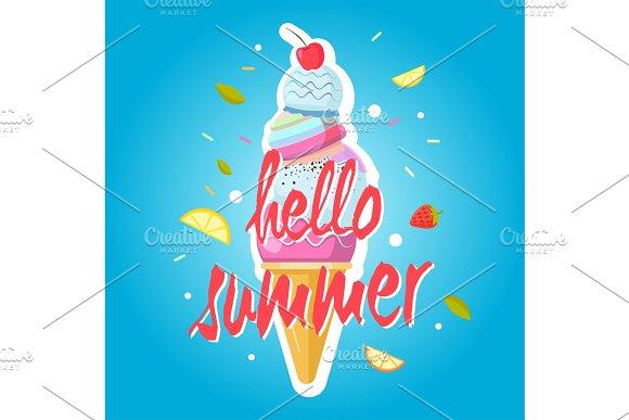 Hello Summer Ice Cream Cone Colorful Background