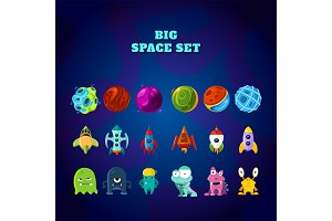 Big space set. Set of space elements. planets, rockets and monsters