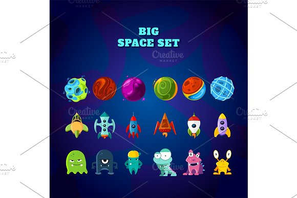 Big Space Set Set Of Space Elements Planets Rockets And Monsters
