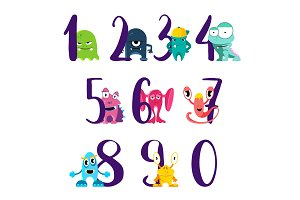 Vector numbers for happy birthday with cute cartoon monsters isolated on white background