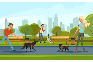 People walking with dogs in urban park. Vector landscape in cartoon style