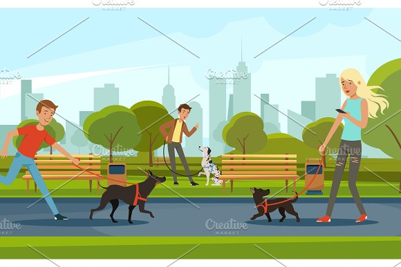 People Walking With Dogs In Urban Park Vector Landscape In Cartoon Style