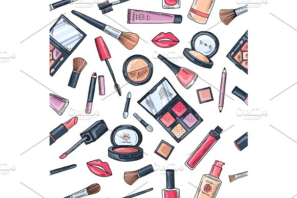 Makeup Seamless Pattern Illustrations Of Different Cosmetics