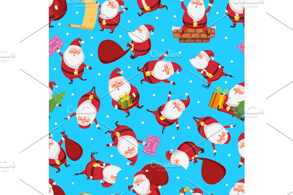 Christmas Seamless Pattern With Santa In Different Action Poses