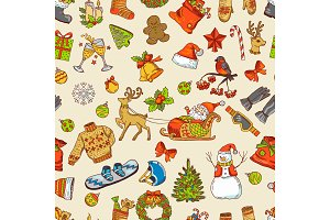 Holidays funny pictures. Vector seamless pattern with christmas icons