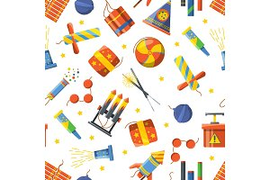 Seamless pattern with pyrotechnic tools