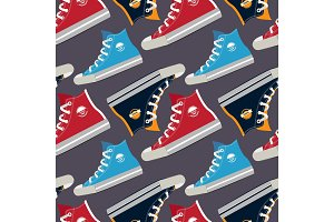 Pictures of colored sneakers. Vector seamless pattern