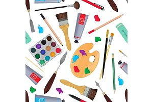 Equipment for artists. Different stationery. Seamless pattern