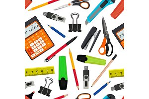 Vector seamless pattern from different school accessories. Back to school illustration