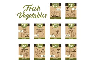 Vegetable tag and farm market veggies price labels