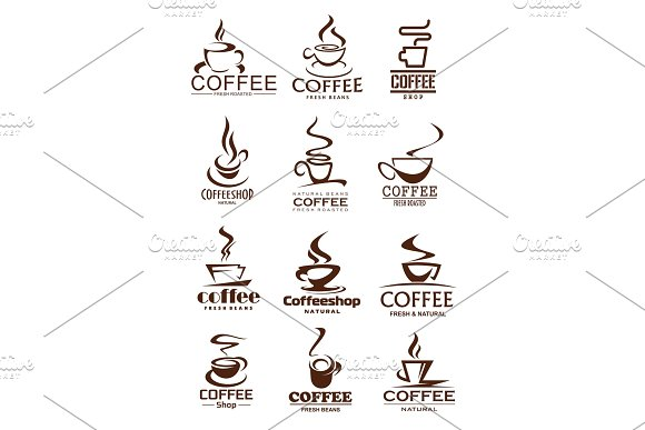 Coffee Cup Icons For Coffeeshop And Cafe Design