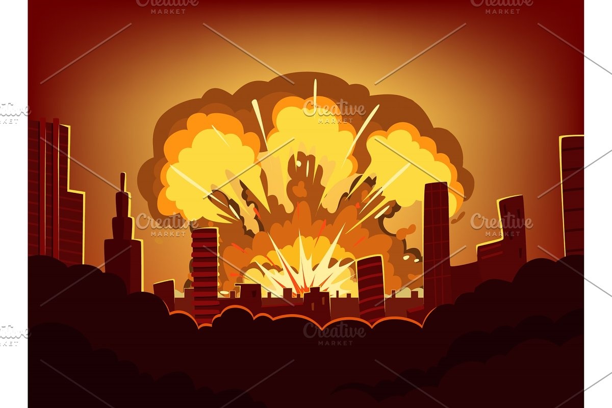 War and damages after big explosion in the city. Monochrome urban landscape with burn sky after atomic bomb