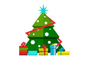 Christmas tree with decorations and different gifts. Vector stylized illustrations