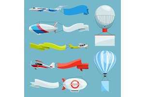 Zeppelins and airplanes with empty banners for advertising messages. Vector illustrations with place for your text
