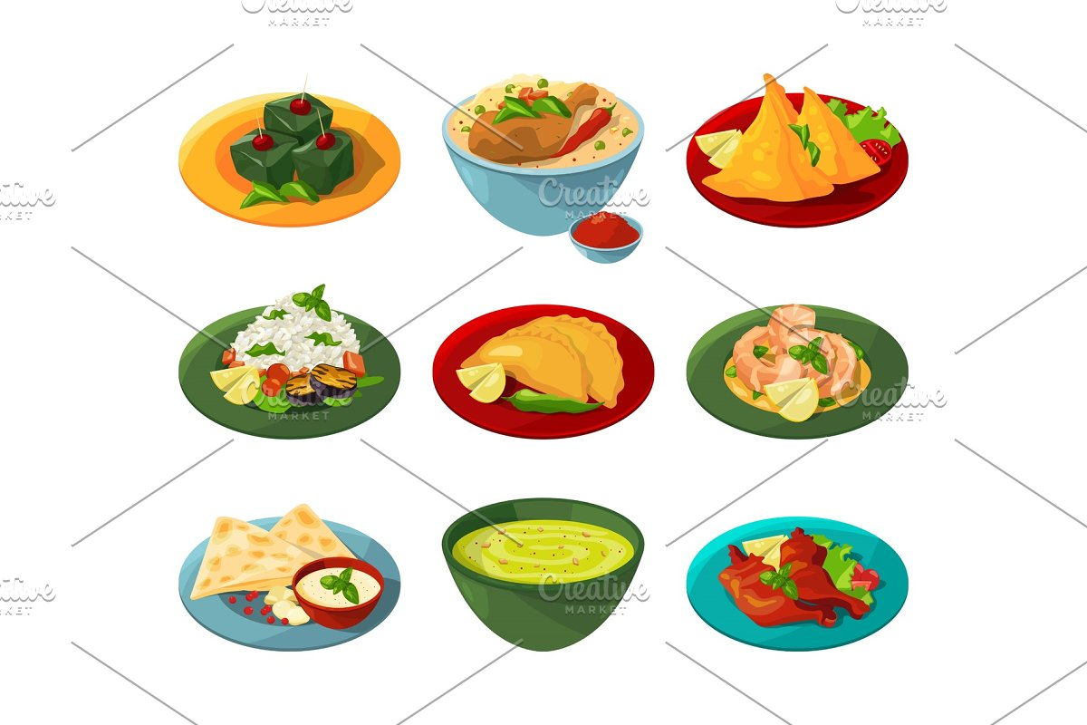 Cartoon set of traditional indian food in different dishes